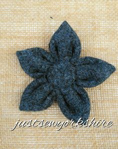 Handmade Blue Harris Tweed Fabric Flower by JustSewYorkshire