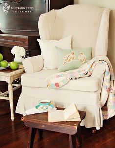 """Best """"how to sew a slipcover for a wingback chair"""" ever!  She's awesome!"""