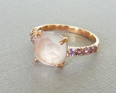 Faceted Rose Quartz accented with Amethyst Size 7, 18K Rose Gold Vermeil Ring