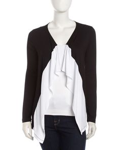 Colorblock Jersey Cardigan, Black/White by Neiman Marcus at Neiman Marcus Last Call.