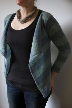 "Wee blogpost about our new ""Moseley in Spring"" cardigan knitting pattern -  a stripy, blanket front, slightly cropped cardigan perfect for spring."