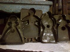 """The 'girls"""" - antique tin cookie cutters"""
