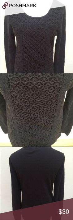 Lucky Brand Black Knit Texture Long Sleeve Top Lucky Brand Black Knit Texture Long Sleeve T-shirt Top Women's Large. Excellent condition! It has a cotton top with a light sweater front/back weave. Very clean and comes from smoke free home. Questions welcomed! Lucky Brand Tops