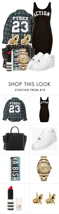 """""""Love More"""" by jasmineharper ❤ liked on Polyvore featuring Pyrex, Topshop, MICHAEL Michael Kors, NIKE, Rolex and Han Cholo"""