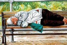 Homeless original watercolor on paper