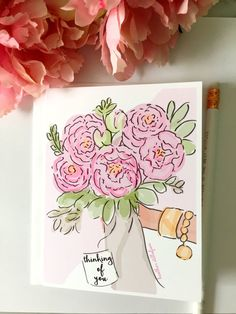 Thinking of You Card  Sympathy Card  by RoseHillDesignStudio
