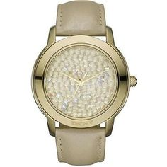 Pre-owned Dkny Glitz Champagne Leather Ladies Watch Ny8435 ($116) ❤ liked on Polyvore featuring jewelry, watches, accessories, none, mens wrist watch, dkny watches, leather-strap watches, pre owned jewelry and big face gold watches