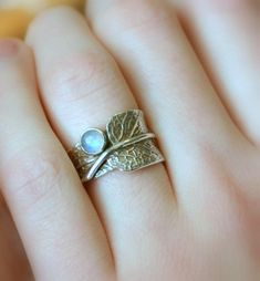 Sage and Moonstone...Sage Leaf Ring with Rainbow by joannerowan
