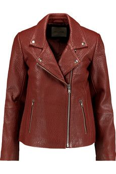 American Vintage Lucas Valley textured-leather biker jacket | THE OUTNET