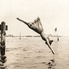 "Circa 1892. ""Woman diving from pier."" Albumen print from ""J.S. Johnston's series of American stereoscopic views,"" 1889-1892. 