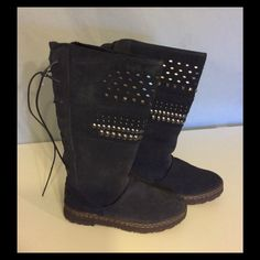 New Bear Paw Navy Silverthorne Suede Boots New, I have the box but it is really trashed. Lace up the back. Soft navy color with silver studs on top portion. Really nice boots. Bear Paw Shoes