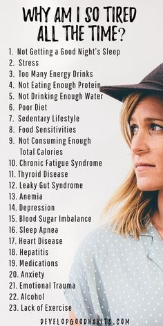 Why so tired? See details on the 23 causes of low energy levels. Once you discover the reasons you you feel tired all the time it is only a few simple steps to get more energy | natural energy boost | increased energy for a healthy lifestyle / healthy living routine #infographic #healthylife #exercise #fitness #nutrition #diet #energy #healthylifestyle #healthyliving #productivity #health Healthy Lifestyle Tips, Healthy Living Tips, Healthy Tips, Healthy Habits, Natural Lifestyle, Health And Lifestyle, Healthy Eating, 7 Habits, Health And Nutrition
