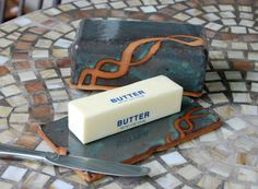 Covered Butter Dish in Slate Blue and Rust Made to by pagepottery