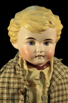 77  28'' Large CF Kling & Co. Jointed School Boy Doll Antique Bisque #190 c1885