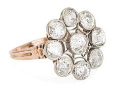 Edwardian Flourish Diamond Cluster Ring - The Three Graces