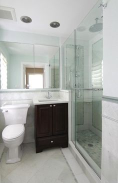 Bathroom Design, Inspiring And Beautiful Small Bathroom Pictures With Square Washbasin With Teak Wood Cabinet Also Appealing White Toilet Glaas Door Shower With Gray Marble Floor And Mosaic Tile Floor: Inspiring and Beautiful Small Bathroom Pictures Half Bathroom Decor, Half Bathroom Remodel, Simple Bathroom, Bathroom Ideas, Bathroom Remodeling, Basement Bathroom, Bath Ideas, Bathroom Storage, Modern Bathroom