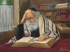 Victor Brindatch -  Learning - Jewish Art Oil Painting