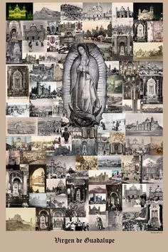 Virgen de Guadalupe - Virgin of Guadalupe history photo collage poster 24 x 36 photo print. Over 100 years of photos and postcards telling the story of the Mexican people and their devotion to their beloved Lady. Etsy-Mariposafuerte