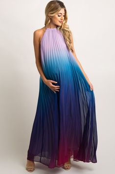 Multi-Colored Pleated Halter Maxi A flowy purple and blue multi-color maternity maxi dress featuring full length pleats and a halter top neck tie. This style was created to be worn before, during, and after pregnancy. Blue Maternity Dress, Maternity Dresses For Baby Shower, Pink Blush Maternity, Maternity Fashion, Maternity Wedding, Maternity Style, Blue Baby Shower Dress, Pregnant Wedding Dress, Pregnant Dresses