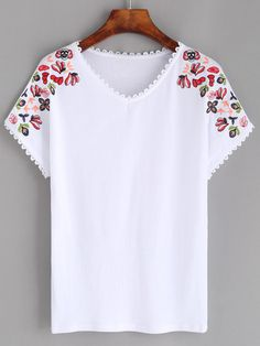 White Lace Trim Embroidered T-shirt