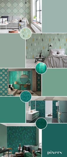 Turquoise Wall Murals ✓ Eco-Friendly ✓ Online Configuration ✓ We will help you choose a pattern! Turquoise Walls, Shades Of Green, Wall Murals, Most Beautiful, Dining Table, Rainbow, Living Room, Stone, Elegant