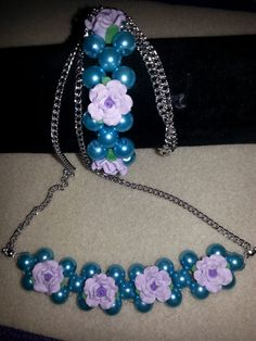 blue bead and lilac rose necklace and bracelet
