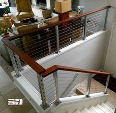 pictures of wood and cable banisters | ... Cable Banister Staircase Railing And Cherry Wood Staircase Handrail