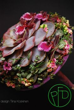 Succulent wedding bouquet ~ Tina Koskinen - The Most Beautiful Wedding Bouquet 2014.