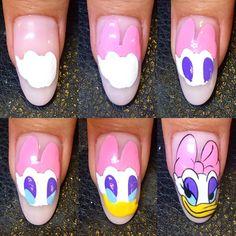 Step by step cartoon duck nail design | cartoon nails tutorial #nails #nailart