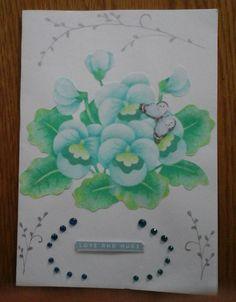 Blue flower Love Card with envelope   21cxmx14.5cm by Bubucraft