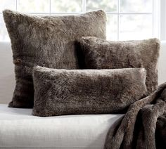 Grey velvet look throw pillows