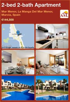 2-bed 2-bath Apartment in Mar Menor, La Manga Del Mar Menor, Murcia, Spain ►€144,500 #PropertyForSaleInSpain