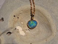 Multi-color Gold Natural Opal on Ironstone Pendant October Birth Stone, Natural Opal, Opals, Pendant Necklace, Chain, Gold, Etsy, Jewelry, Jewlery