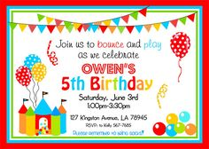 Bounce House Party Invitations Bouncy Castle by thepaperkingdom, $19.00