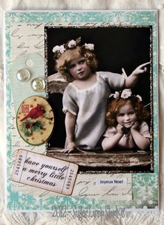 Joyeux Noel Angels HANDMADE Christmas Collage Greeting Card.