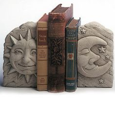 Sun and Moon Bookends Carruth Studios Decorative Face Art Bookends NEW