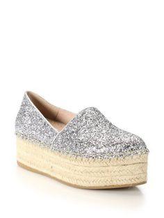 Miu Miu Glittered Leather Platform Espadrilles | Sandals, Shoes and Footwear