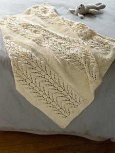 Lace knit baby blanket - Free pattern via Lion Brand Yarn