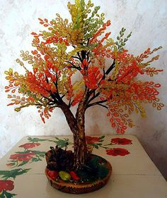 Wire Crafts, Paper Crafts, Wire Trees, Artificial Tree, Tree Sculpture, Wire Art, Bead Crochet, Paper Quilling, Beaded Flowers