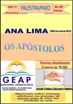 GEAP – Grupo Espírita Antonio de Pádua Convida para a sua Palestra Pública - Santo Antônio de Pádua – RJ - http://www.agendaespiritabrasil.com.br/2016/05/17/geap-grupo-espirita-antonio-de-padua-convida-para-sua-palestra-publica-santo-antonio-de-padua-rj-13/