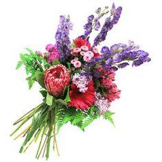 Compuesto de gerberas, astromelias, proteas, crisantemos y acónitos   Bourguignon Floristas