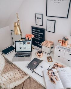 – – – –- -- – – – – Home Office Inspiration 20 Stylish Desk Essentials You Need To Add Your Desk Right Now Home Office Design, Home Office Decor, Home Decor, Office Ideas, Desk Office, Work Desk Decor, Cute Desk Decor, Office Desk Plants, Decorate Desk At Work