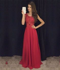 Evening Gown Dark Red Chiffon and Lace Prom