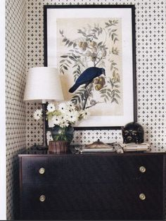 Katie leede papyrus | veranda magazine, feb. 2012.  Love that wallpaper