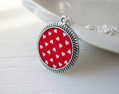 Red Necklace, Valentine's Jewelry Heart Necklace, White, Red Pendant, Silver, Valentine's Day. $26.00, via Etsy.