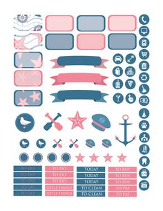 5933c872ace6 Nautical Planner Stickers Printable