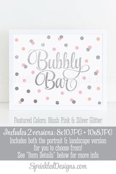 Bubbly Bar Sign Blush Pink Gray Silver Glitter by SprinkledDesign