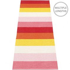 The Pappelina Molly Summer runner embraces a simple stripe design in bright hues, perfect when you want to add a splash of colour in a room.  Woven from soft plastic using traditional Swedish techniques, Pappelina rugs can be used in all areas of the home.  They are reversible, dust and dirt repellent, and fully washable, although a quick vacuum is probably all they will ever need to keep them looking good as new.