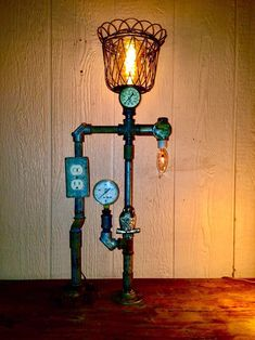 Industrial steampunk lamp,loft lighting,christmas gift,farmhouse decor,edison bulb lamp,pipe decor,machine age,metal assemblage art,unique.
