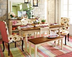 French country chic dining room. Been in love with this little collection for a while now.